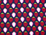 0,5m Stoff Erdbeeren rot-blau