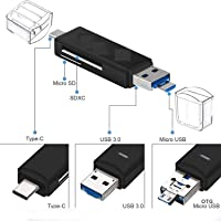 eErlik SD Card Reader, 3-in-1 USB 3.0/USB C/Micro USB Card Reader - SD, Micro SD, SDXC, SDHC, Micro SDHC, Micro SDXC Memory Card Reader for MacBook PC Tablets Smartphones with OTG Function