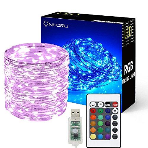 Preisvergleich Produktbild Onforu 10M USB LED Lichterkette RGB | 100er LED Silberdraht Lichterketten mit Fernbedienung | IP65 Wasserfest | 16 Farbe 4 Modi für Innen- und Außenbeleuchtung, Hochzeit, Weihnachten Party, Haus Deko