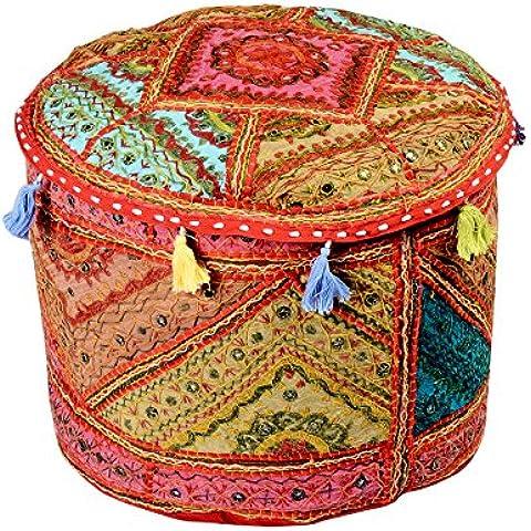 Coperchio ottomana rotonda rossa della Boemia Pouffe cotone floreale tradizionale Patchwork Ottomana Pouf da Rajrang - Coperchio Primaria