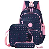 Fanci 3Pcs Star Prints Waterproof Primary School Backpack for Girls Bookbag Rucksack
