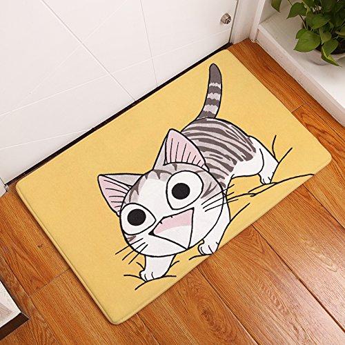 Tapis paillasson chat jaune de mousse antidérapante et absorbant tapis bain Cuisine habitacion vétérinaires Mystère jardin Hall escalier 40 x 60 cm de Open Buy