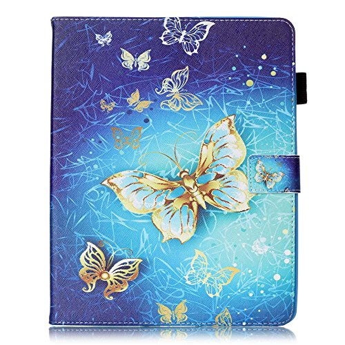 Apple iPad 2 / iPad 3 / iPad 4 Case [with Free Earphone], Billionn 3D glitter PU Leather Flip Cover Shell Wallet Slim Stand Protective Cover for Apple iPad 2 / iPad 3 / iPad 4 (Gold butterfly) Test