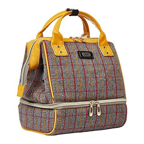 Sac de tire-lait - Mini sac à dos de poche avec poches pour sac isotherme Sac portable Chargeur de batterie USB intégré pour travail Maman idéale pour le voyage comme sac à lunch (Jaune)