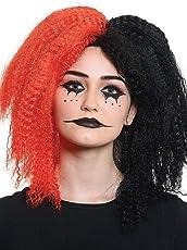 shoperama Voluminöse gekreppte Damen Perücke Zweifarbig Rot/Schwarz Harlekin Clown Horror Halloween Crazy Girl Wig