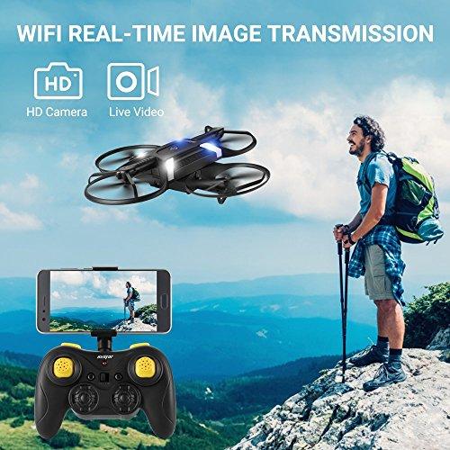 HELIFAR H816 RC Drone Remote 4- Axis Quadcopter con cámara WiFi 720P Drone Plegable con 2 baterías (Dual Lever Remote Control) Juguete para Halloween