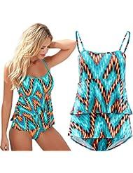 Sannysis - Mujer Traje de Baño, body Push Up Conjuntos, color flor (M)