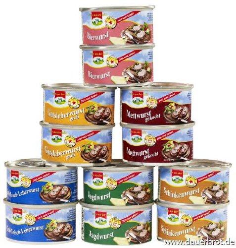 12 Dosen a 125g Dosenwurst, 6 Sorten je 2 Dosen, insgesamt 1,5 kg (8,97 EUR/kg), Lebensmittelvorrat...