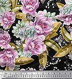 Soimoi Grun Baumwolle Ente Stoff Blätter, Succulents &