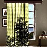 lamodahome Luxus Fenster Vorhang für Wohnzimmer/Schlafzimmer/100% Polyester/pflegeleicht/Größe (140x 260,1cm) Colorful modernes Design Schatten Zigzag gelb und grau Baum Natur Multi Varianten in Store.