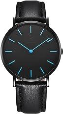 Alienwork IK Herren Damen Armbanduhr Ultra-flach Slim-Uhr mit Leder-Armband