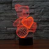 Elsley Schreibtischlampe 3D Lamp Teddy Bear 7 Farben ändern Noten-Schalter-Tabelle LED-Licht-Nachtbeleuchtung Hauptdekoration Haushaltszubehör