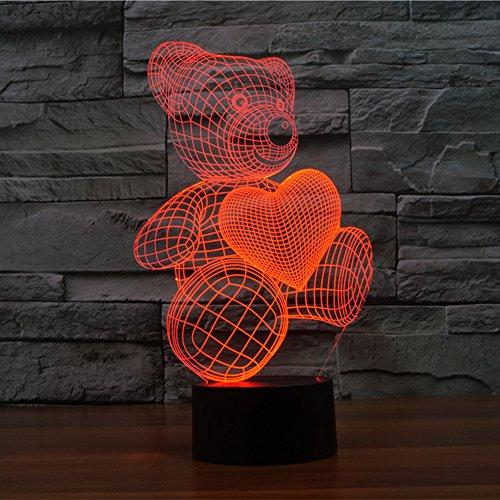 Elsley Schreibtischlampe 3D Lamp Teddy Bear 7 Farben ändern Noten-Schalter-Tabelle LED-Licht-Nachtbeleuchtung Hauptdekoration (Geschenke Kinder Niedlichen Halloween)
