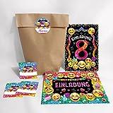 12-er Set Einladungskarten, Umschläge, Geschenktüten, Aufkleber zum 8. Kindergeburtstag für Mädchen / Einladung achte Geburtstag / Einladungen zum Geburtstag / Kartenset für Kindergeburtstag / glitzer