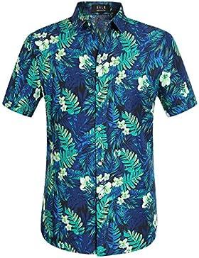 SSLR Uomo Camicie Giungla Disegno Manica Corta Casual Aloha Hawaiana