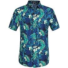 SSLR Camisa Hawaiana Aloha Hombre Manga Corta Casual Estampado Jungla