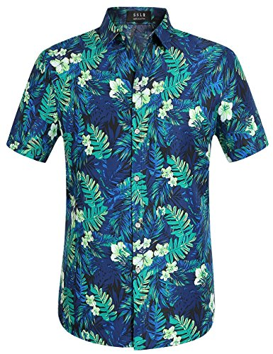 SSLR Herren Jungle Drucke Freizeit Kurzarm Aloha Hawaii Hemd (4X-Large, Blau)