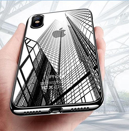 Preisvergleich Produktbild iPhone X Handyhülle, Mture iPhone X Hülle Kratzfeste Plating Bumper Case Ultra Slim TPU Case Flexibel Silikon Hülle Anti-Scratch Tasche Schutzhülle für iPhone X Case Cover (Schwarz )