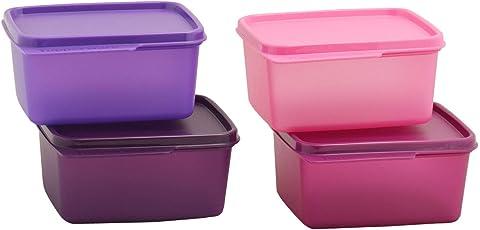 Tupperware Keep Tab Plastic Container Set, 500ml, Set of 4, Multicolour (TUP_B01AXR1M88)