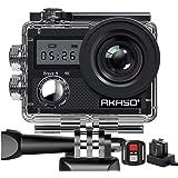 AKASO Action Cam 4K WiFi Angolo Variabile Doppio Schermo 5 Volte Zoom Telecomando Caricabatterie con 2 Batterie Fotocamera Su