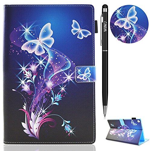 WIWJ Hülle Case für Amazon Fire HD 10 (7th/6th Generation-2017 und 2016 Modell),Ultra Slim Gemalt Schutzhülle Tasche Case mit Auto Sleep Ständer Standfunktion Lederhülle-Verträumter Schmetterling