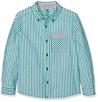 United Colors of Benetton Boy's Shirt, White (Green/White), 10-11 Years (Manufacturer Size:X-Large)
