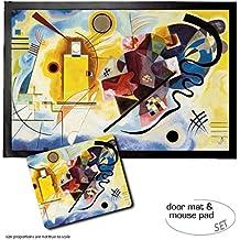 Set: 1 Felpudo Alfombrilla (60x40 cm) + 1 Alfombrilla Para Ratón (23x19 cm) - Vassili Kandinsky, Amarillo Rojo Azul, 1925