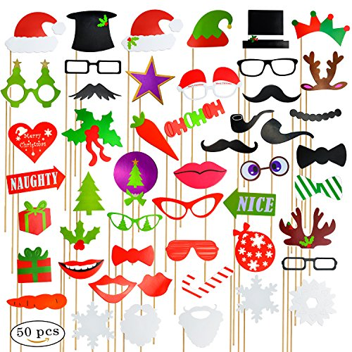 haichen 50-in-1 DIY Weihnachten Photo Booth Requisiten Fashion Party Verkleiden Valentine 's Day Cosplay Schnurrbart, Elch Geweih, Gläser, Lippen, Hüten, Schleifen, (Partys Verkleiden Charakter Für)