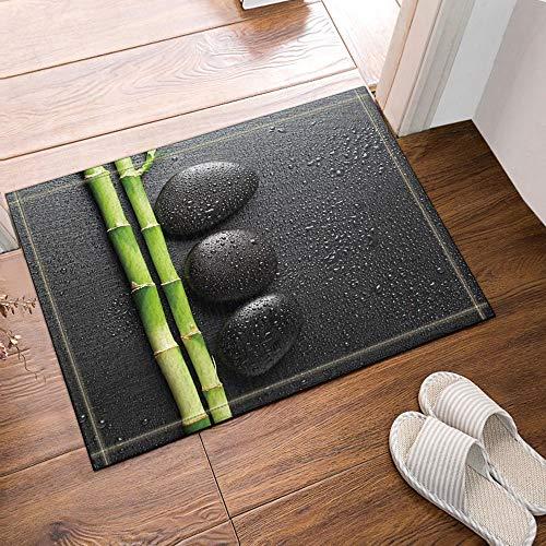 hdrjdrt Cubiertas Arte en alfombras baño Zen y bambú Alfombras Antideslizantes Entradas al Aire Libre Alfombra lantera para Interiores 60X40CM Alfombra baño