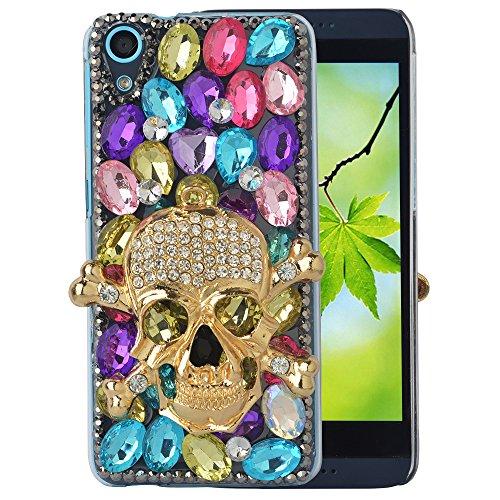 spritech (TM) Bling Klar Telefon für HTC Desire 626,3d handgefertigt Kristall Butterfly Flower Zubehörs Design Handy Cover (Einzigartige Htc Desire Telefon Fall)