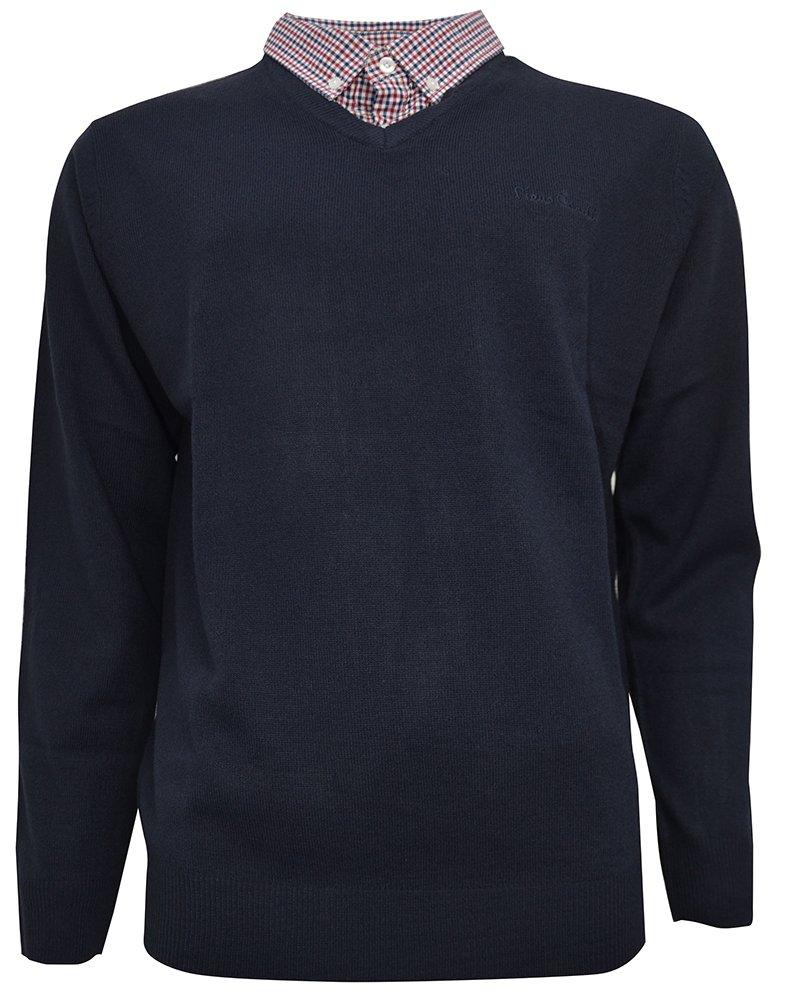 Pierre Cardin – Jersey de punto con cuello en V para hombre