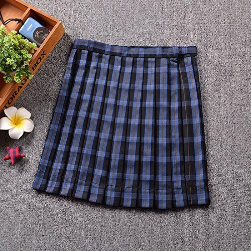 QIYUN.Z Femmes Filles Campus Style JK Uniformes Scolaires Plaid Uniforms Plissé Jupes Grille Bleue et Jaune