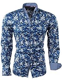 9baa80d4a5d4 Carisma - Chemise Homme - Fleur - Stretch - Bleu foncé