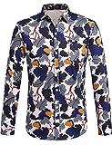 SSLR Herren Camouflage Casual Regular Fit Baumwolle Button Down Langarm Hemd (X-Large, Beige Blau)