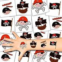 German Trendseller 12 x XL tatuajes temporales pirata┃ fiestas infantiles┃ idea de regalo┃piñata┃cumpleaños de niños┃ 12 unidades