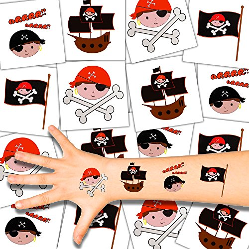 German Trendseller® - 72 x Kinder Tattoos - Piraten Set ┃ NEU ┃ Piraten Party ┃ Kindergeburtstag ┃ Mitgebsel ┃ 72 Tattoos