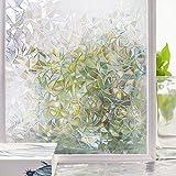 Homein Fensterfolie Selbsthaftend 3D Fenster Dekorfolie Sichtschutzfolie Folie für Sichtschutz Blickdicht Durchsichtig Glastür Selbstklebend Klebefolie mit Lichtspiel Motiv Glanzoptik Bunt Farbig Bruchglas 90 x 200 cm