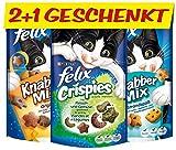 FELIX Leckerlis: 2 KnabberMix und 1 Crispies (gratis), vitaminreich, Menge: 6er Pack 6*(2*60g+1*45g gratis)