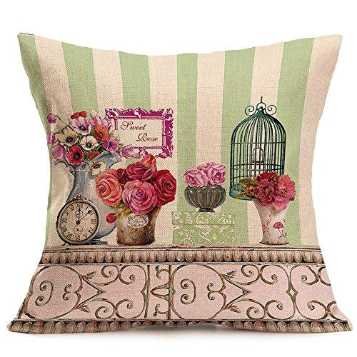 Dicomi Kissenbezug Blume Drucken Baumwolle Leinen Dekokissen Sofa Taille Wohnkultur (43 X 43 cm)