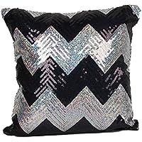 funda cojines vintage Sannysis Funda de almohada decoracion cojines brillo de raya (Negro)