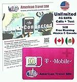 Carte SIM USA prépayée réseau T-Mobile - Illimité Internet Data en 4G / LTE, Appels ILLIMITÉS aux Etats-Unis, Canada et Mexique + SMS Internationaux (15 Jours de Service)