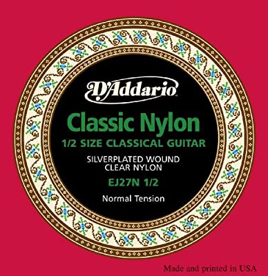 Musical Instrument D'Addario EJ27N 1/2 Student Nylon Fractional Classical Guitar Strings, Normal Tension Music Tool