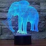 3D Elefant Illusions LED Lampen Tolle 7 Farbwechsel Acryl Tabelle Schreibtisch-Nacht licht USB-Kabel für Kinder Schlafzimmer Geburtstagsgeschenke Geschenk【7 bis 15 Tage in Deutschland angekommen】