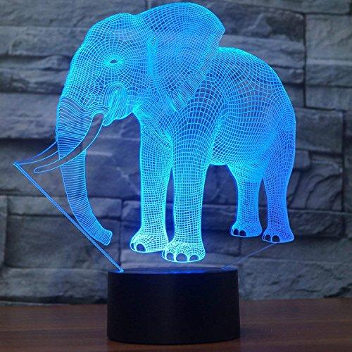 3D Elefante Ilusión Lámpara luz Nocturna 7 Colores Cambiantes Touch USB de Suministro de Energía Juguetes Decoración Regalo de Navidad Cumpleaños