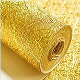 3D pegatinas de pared de papel de aluminio papel pintado de color puro pigmento 3D oro plata papel pintado cepillado grueso 0.53 * 10M
