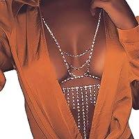 Sethain Moda Catena del corpo Strass Argento Catene di tassel Reggiseno Night Club Bikini Accessori per il corpo…