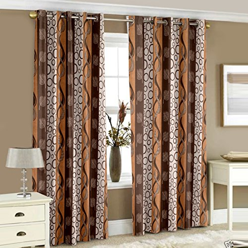 Story@Home Nature Premium Polyester Geometrical Eyelet 2 Pieces Window Curtains...