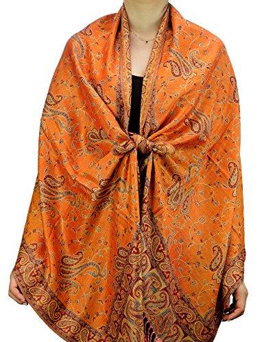 Fabuleux foulard-châle doux à imprimé Jacquard Paisley Produit offert par NYFASHION101. Mandarine