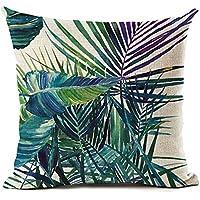 Funda de cojín de ZHOUBA, de tela, diseño de plantas y hojas verdes tropicales, para decoración del hogar, Lino, 13 Green And Purple Leaves, talla única