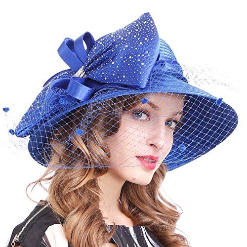 Damen Oaks Derby Kleid Kirche Glocke Ascot Eimer Hochzeit Bowler Sonnenhüte (SD706-Blau) -
